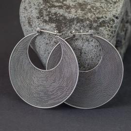 Duże srebrne plecione koła