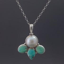 Srebrny wisior z perłą i turkusami
