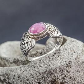 Srebrny pierścionek z pięknym rubinem (rozm.12)