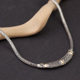 Srebrny naszyjnik z 18-karatowym złotem