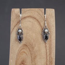 Srebrne kolczyki z perłą i onyksem