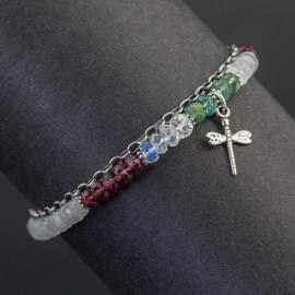Srebrna bransoletka z kamieniem księżycowym, granatem i szmaragdem