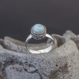 Srebrny pierścionek z larimarem (regulowany)