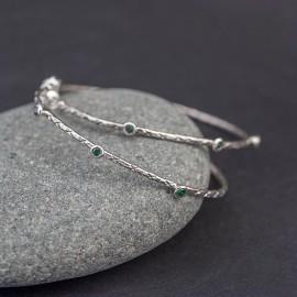 Srebrne kolczyki z kwarcem zielonym