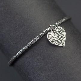 Srebrna bransoletka z serduszkiem