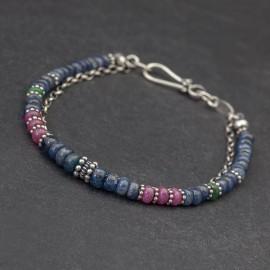 Srebrna bransoletka z szafirów, rubinów i szmaragdów