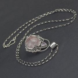 Srebrny naszyjnik z kwarcem różowym i ametystem