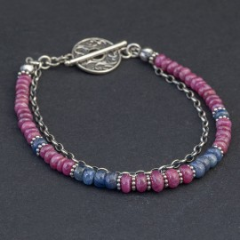 Srebrna bransoletka z rubinów i szafirów
