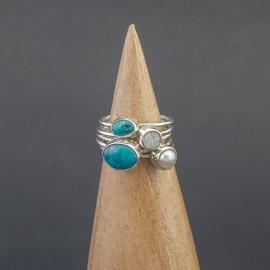 Srebrny pierścionek z turkusem, perłą i kamieniem księżycowym (rozm.13)