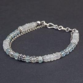 Srebrna bransoletka z kamieniem księżycowym i akwamarynem