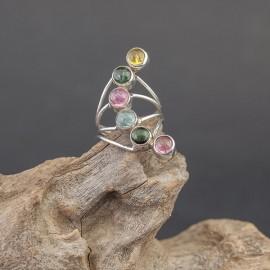 Srebrny pierścionek z turmalinami (rozm.11)