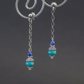Długie kolczyki z turkusem i lapisem lazuli