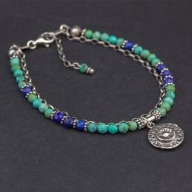 Srebrna bransoletka z turkusu i lapisu lazuli