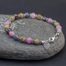 Srebrna bransoletka z kamieni rubinu i szafiru