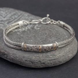 Srebrna bransoletka ze złotem 18K
