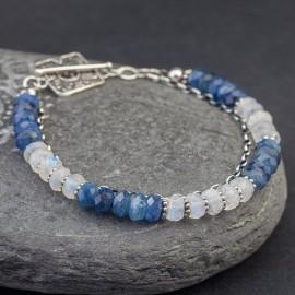 Srebrna bransoletka z kyanitem i kamieniem księżycowym