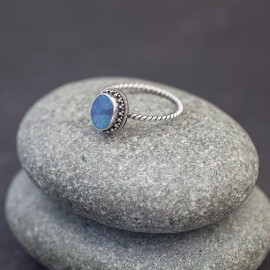 Srebrny pierścionek z opalem australijskim (rozm.19+)