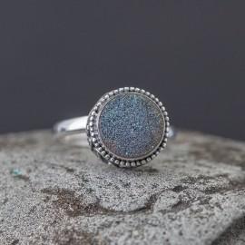 Srebrny pierścionek z agatową druzą