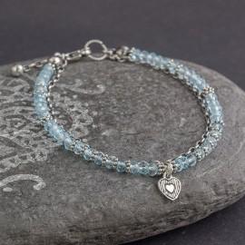 Srebrna bransoletka z błękitnym topazem
