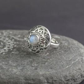 Srebrny pierścionek z kamieniem księżycowym (regulowany)