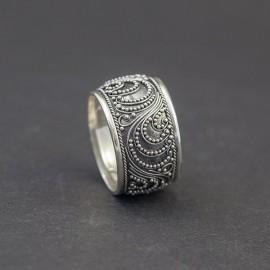 Obrączka srebrna w orientalnym stylu (rozm.14)