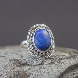 Srebrny pierścionek z lapisem lazuli (regulowany)
