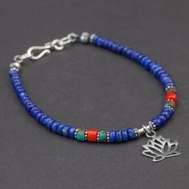 Srebrna bransoletka z lapisem lazuli, turkusem i koralem