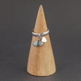 Srebrny pierścionek z kyanitem i kamieniem księżycowym