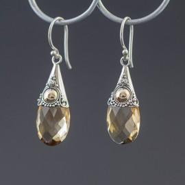 Srebrne kolczyki z cytrynem i odrobiną złota